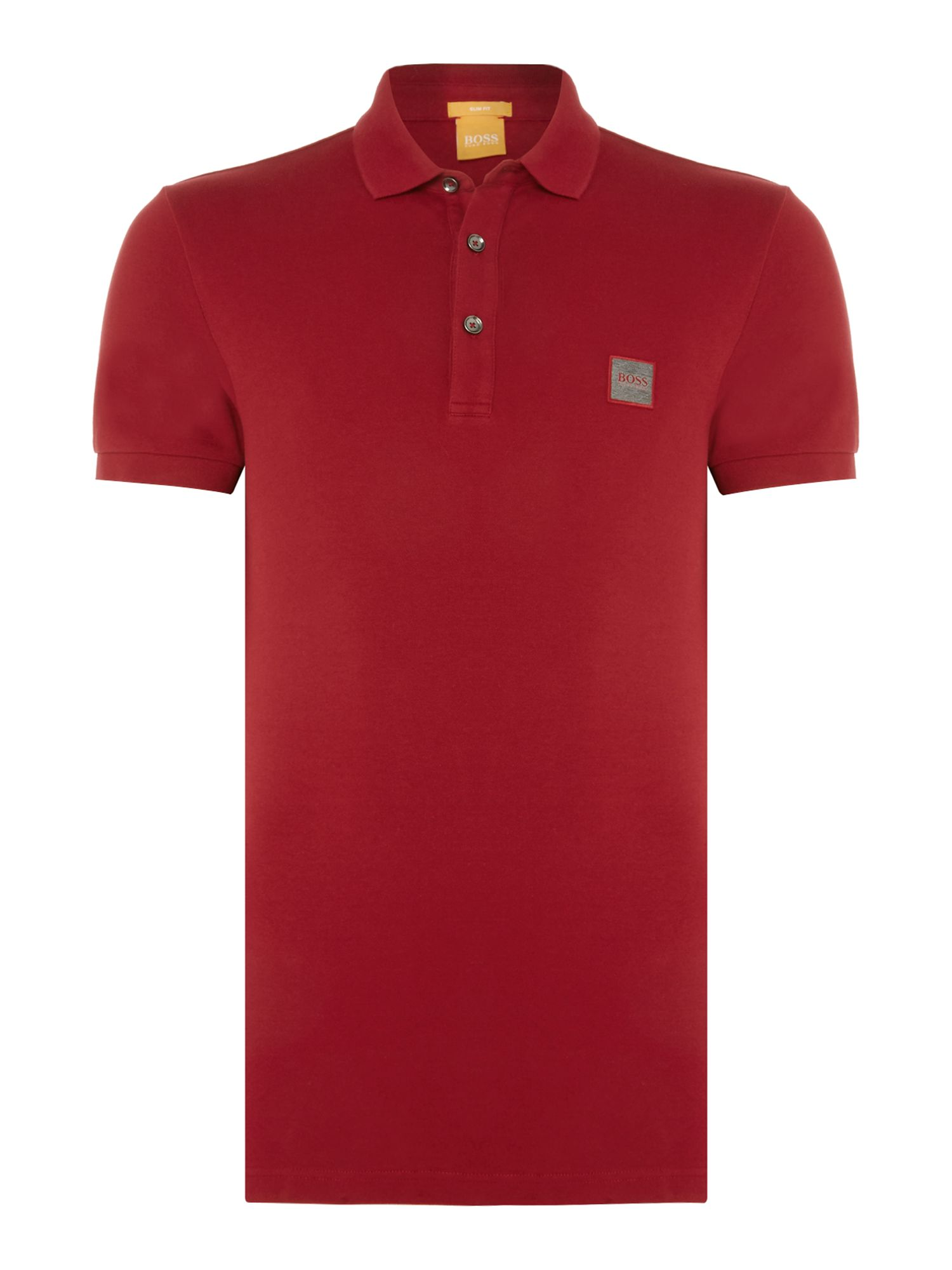 Men's Hugo Boss Pavlik slim fit patch logo polo shirt, Red