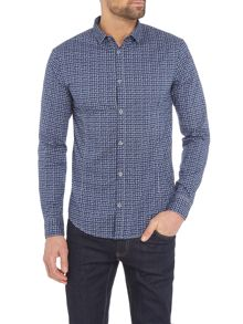 Armani Jeans Regular fit textured check long sleeve shirt