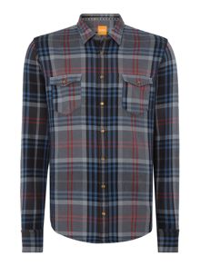 Hugo Boss Edoslime regular fit long-line checked shirt