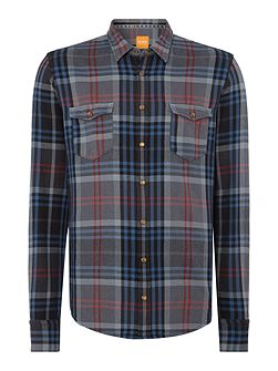 Edoslime regular fit long-line checked shirt