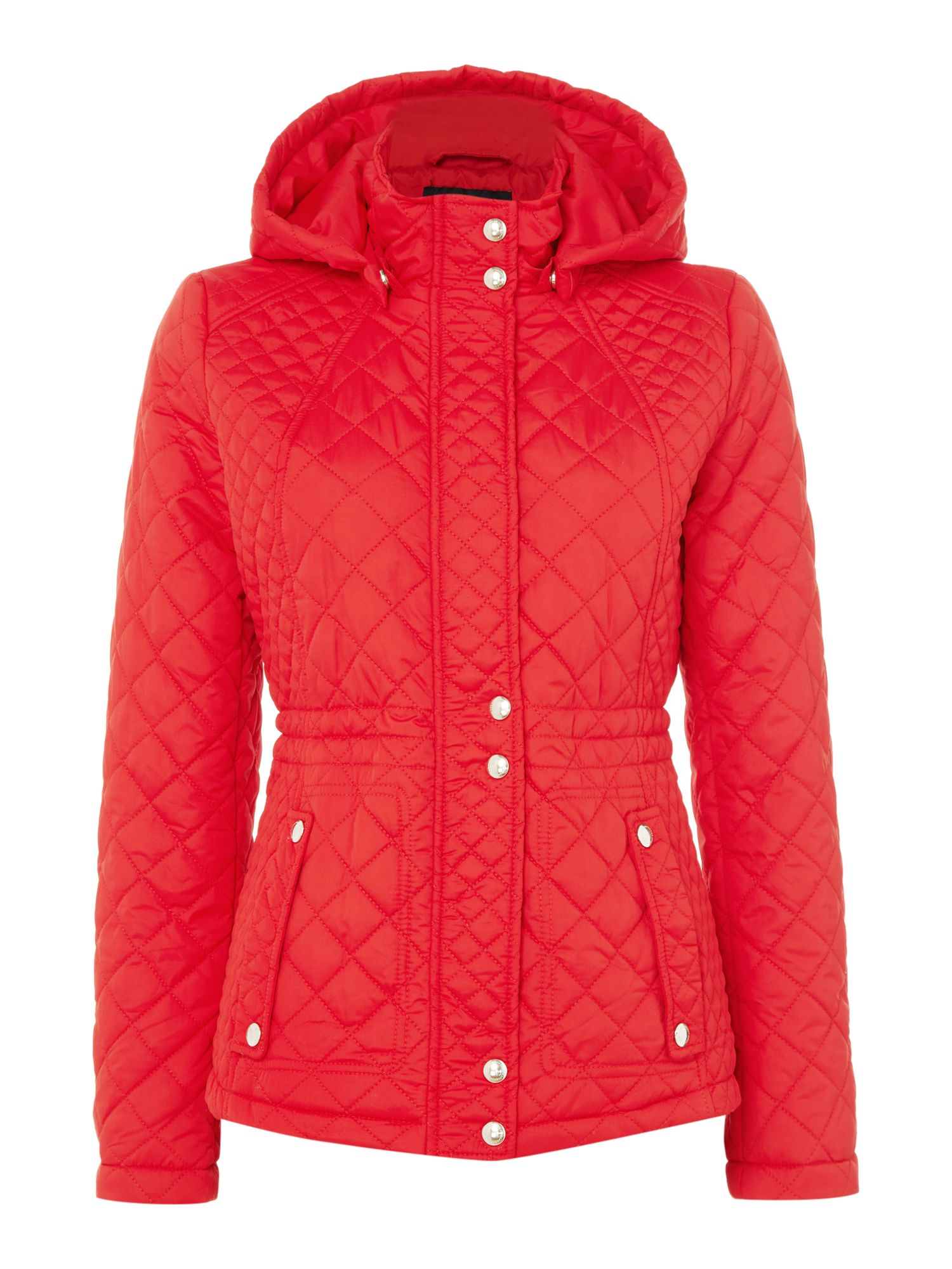 Weatherproof Hooded quilted jacket with inner drawcord, Red