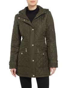 Weatherproof Hooded quilted walker with back bungi