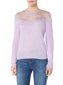 Armani Jeans Long sleeve contrast see through top in lilla