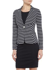 Armani Jeans Striped jersey blazer in riga blu
