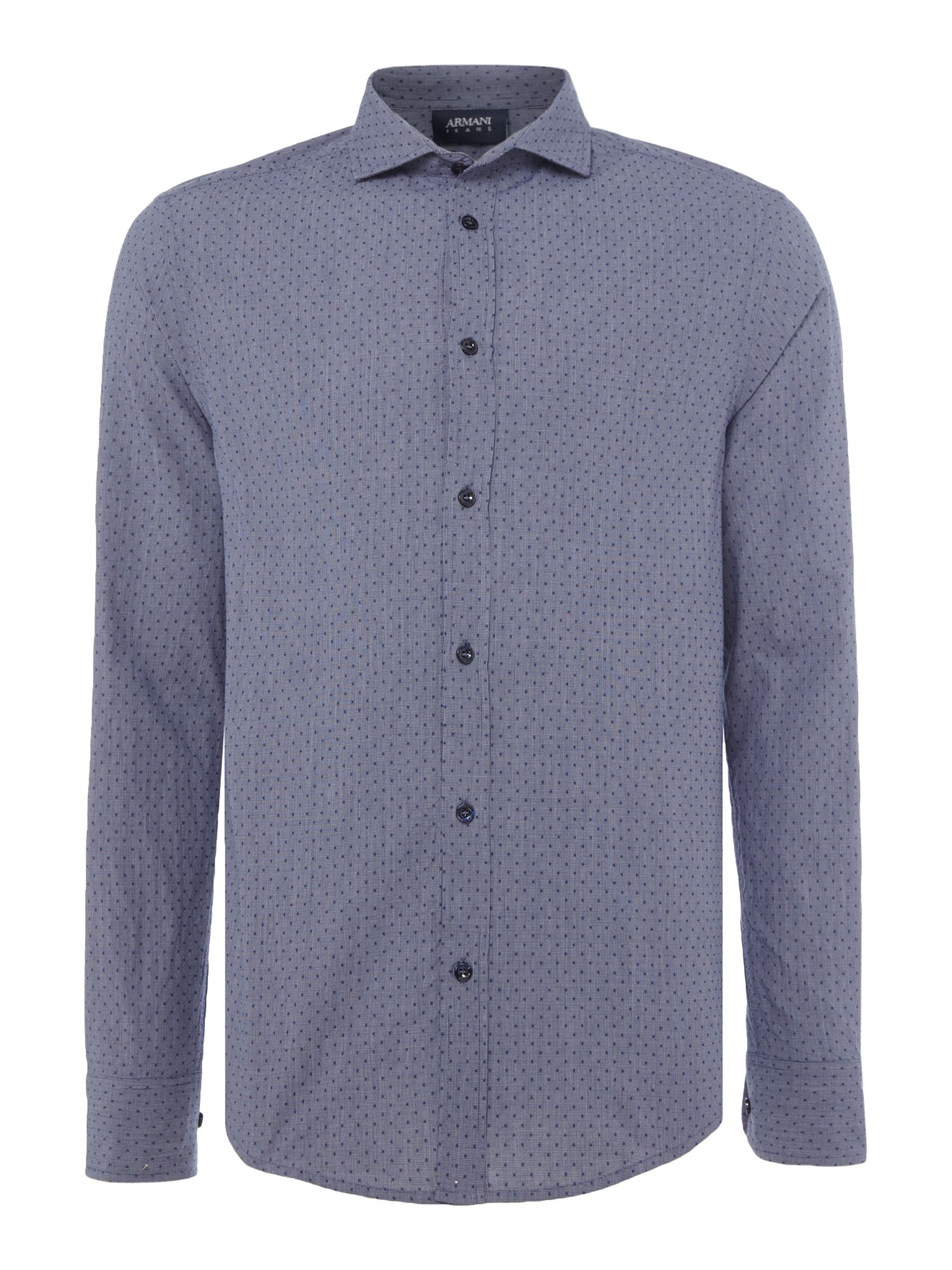 Mens Armani Jeans Regular fit dotted chambray long sleeve shirt Navy
