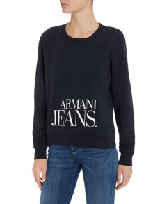 Armani Jeans Long sleeve logo sweater in blu