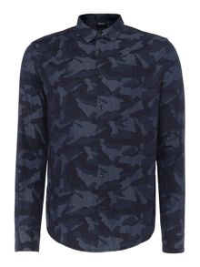 Armani Jeans Regular fit camo print long sleeve shirt
