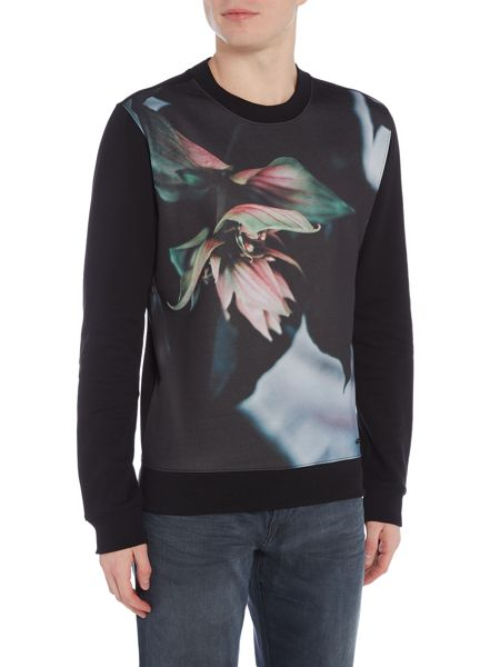 Hugo Boss Whit floral print crew neck sweat top