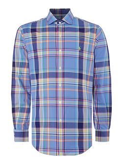 Slim fit checked long sleeve shirt