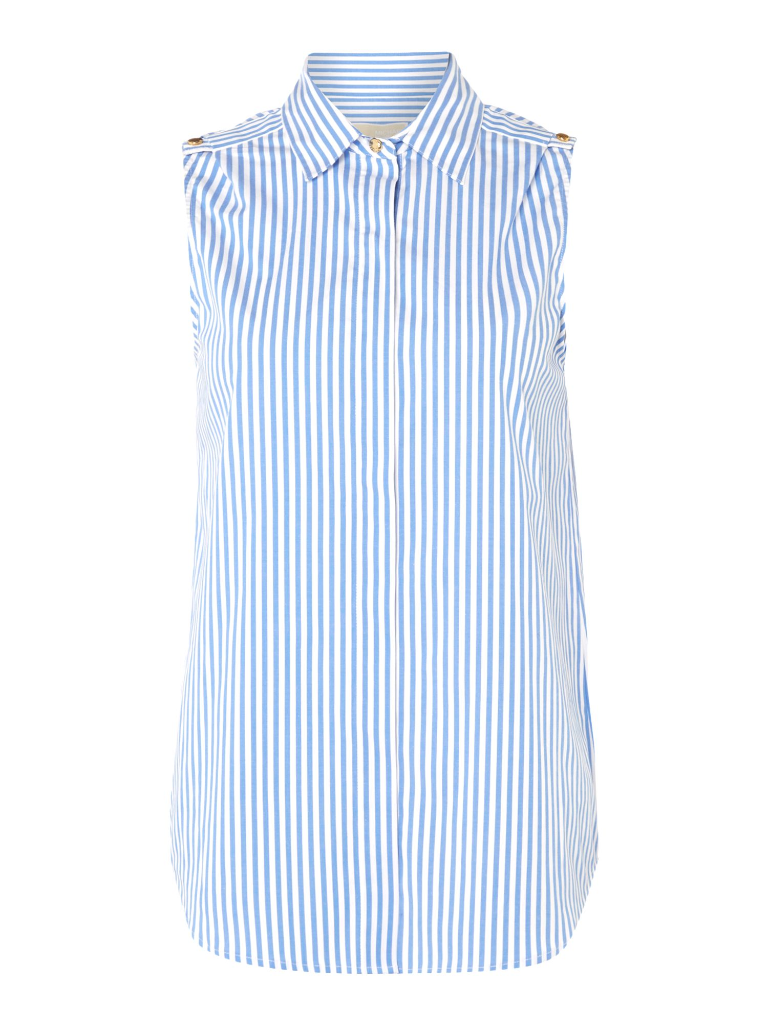 Michael Kors Sleeveless Striped Top, Blue