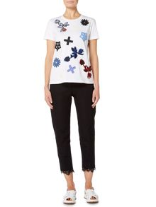 Sportmax Code BAIA shortsleeve embroidered shape t-shirt
