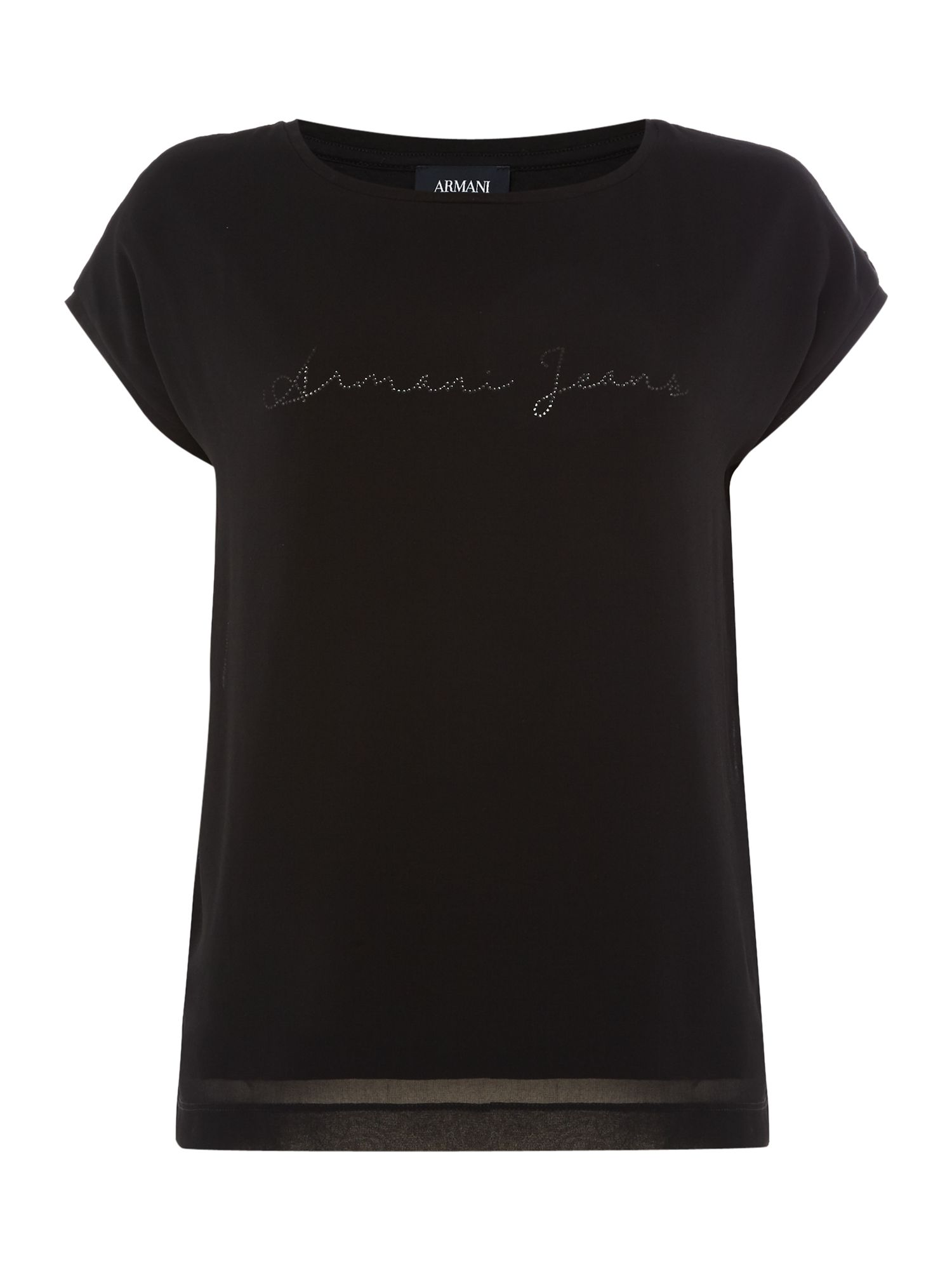 Armani Jeans Sleeveless plain tee in 1200 nero, Black