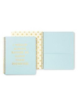 Blue Be Happy Large Spiral Notebook