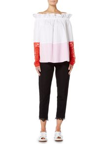 Sportmax Code SAMARIA longsleeved ruched neck lace cuff top