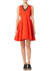 Sportmax Code LAUTO Sleeveless v neck dress with lace trim