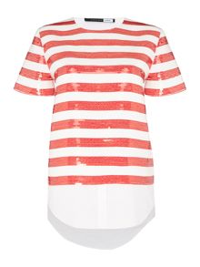 Sportmax Code MAIORCA short sleeve striped top with shirt hem