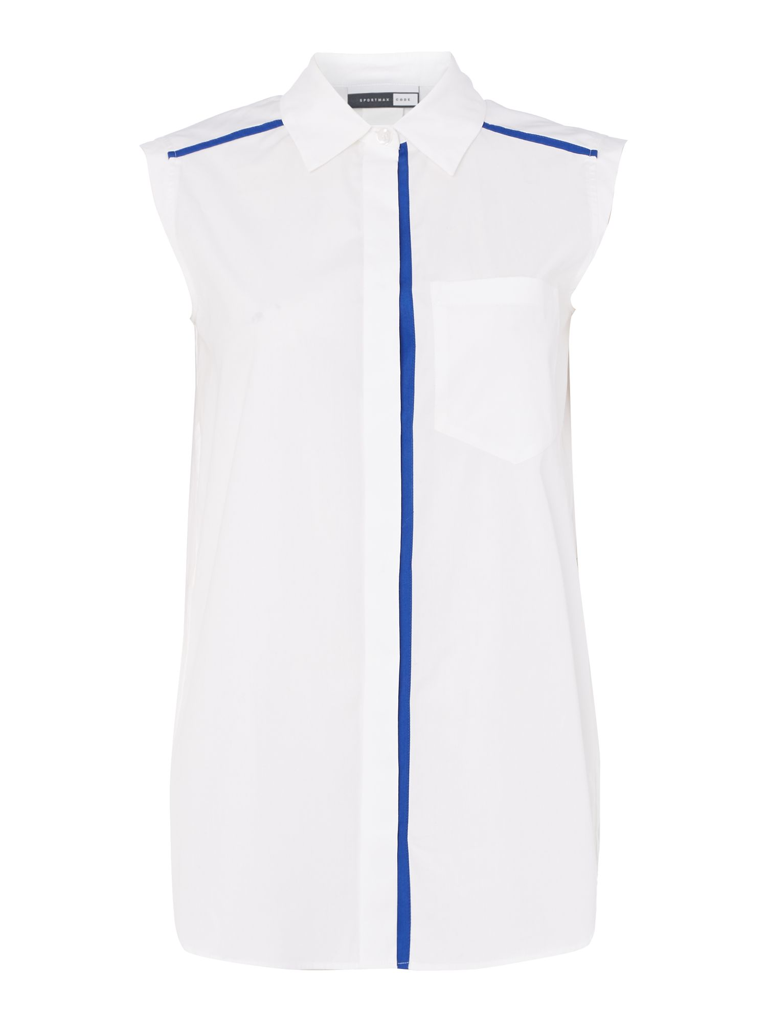 Sportmax Code MIRTO sleeveless front pocket shirt, Optical White