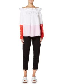 Sportmax Code LEARCO slim fit trouser with lace hem