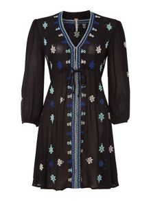 Free People Gauze star gazzer embroidered dress