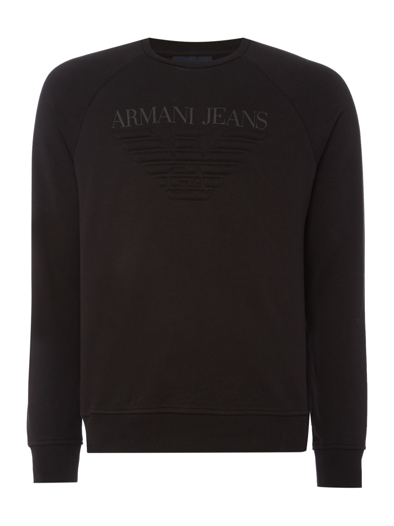 Mens Armani Jeans Crew neck embossed logo sweatshirt Black