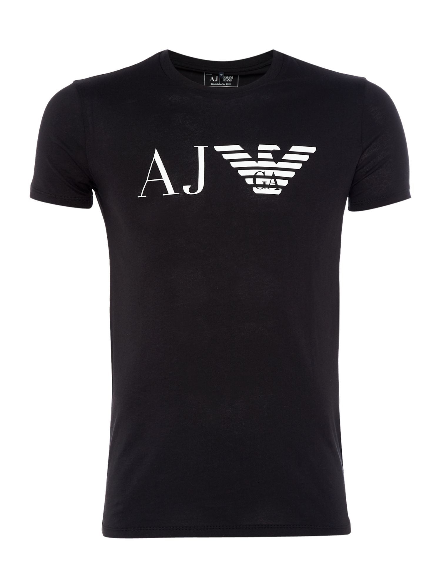 Men's Armani Jeans Regular fit AJ eagle logo printed t shirt, Black