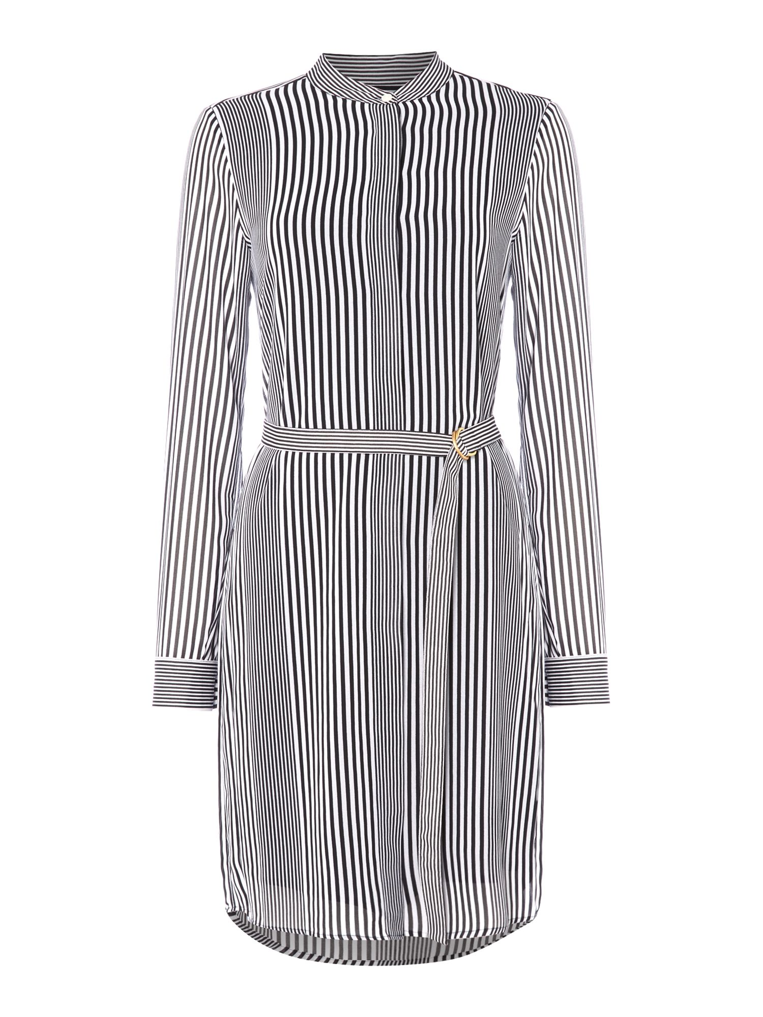 Michael Kors Longsleeve Striped Belted Tunic Dress, White