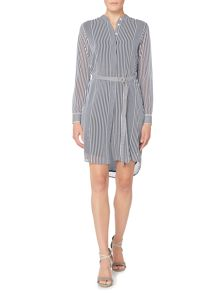 Michael Kors Longsleeve Striped Belted Tunic Dress
