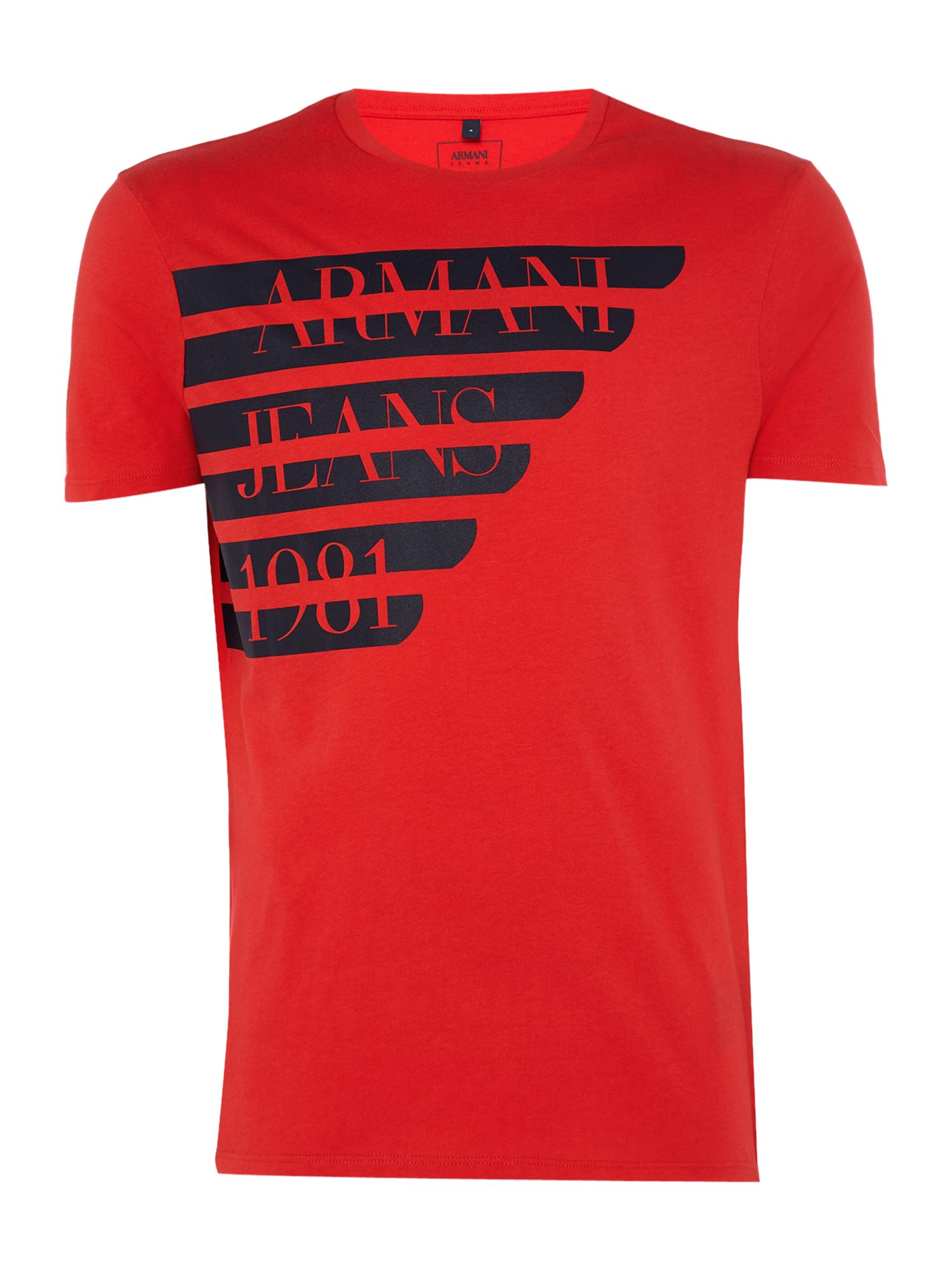 Men's Armani Jeans Regular fit large logo wing t-shirt, Red