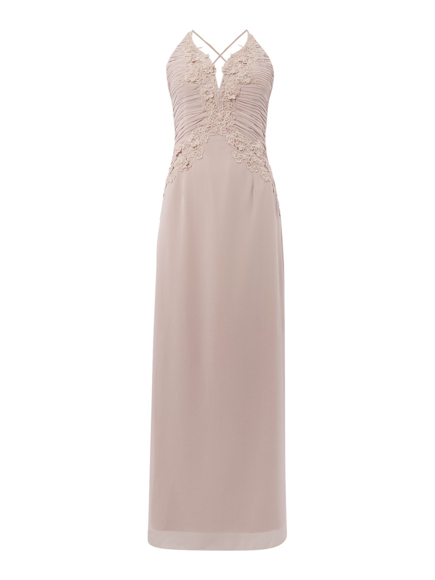 Click to view product details and reviews for Little Mistress Appliqued Maxi Dress Mink.