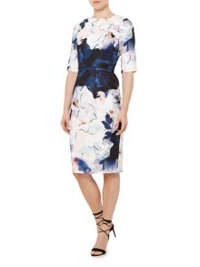 Little Mistress 3/4 sleeve print bodycon dress