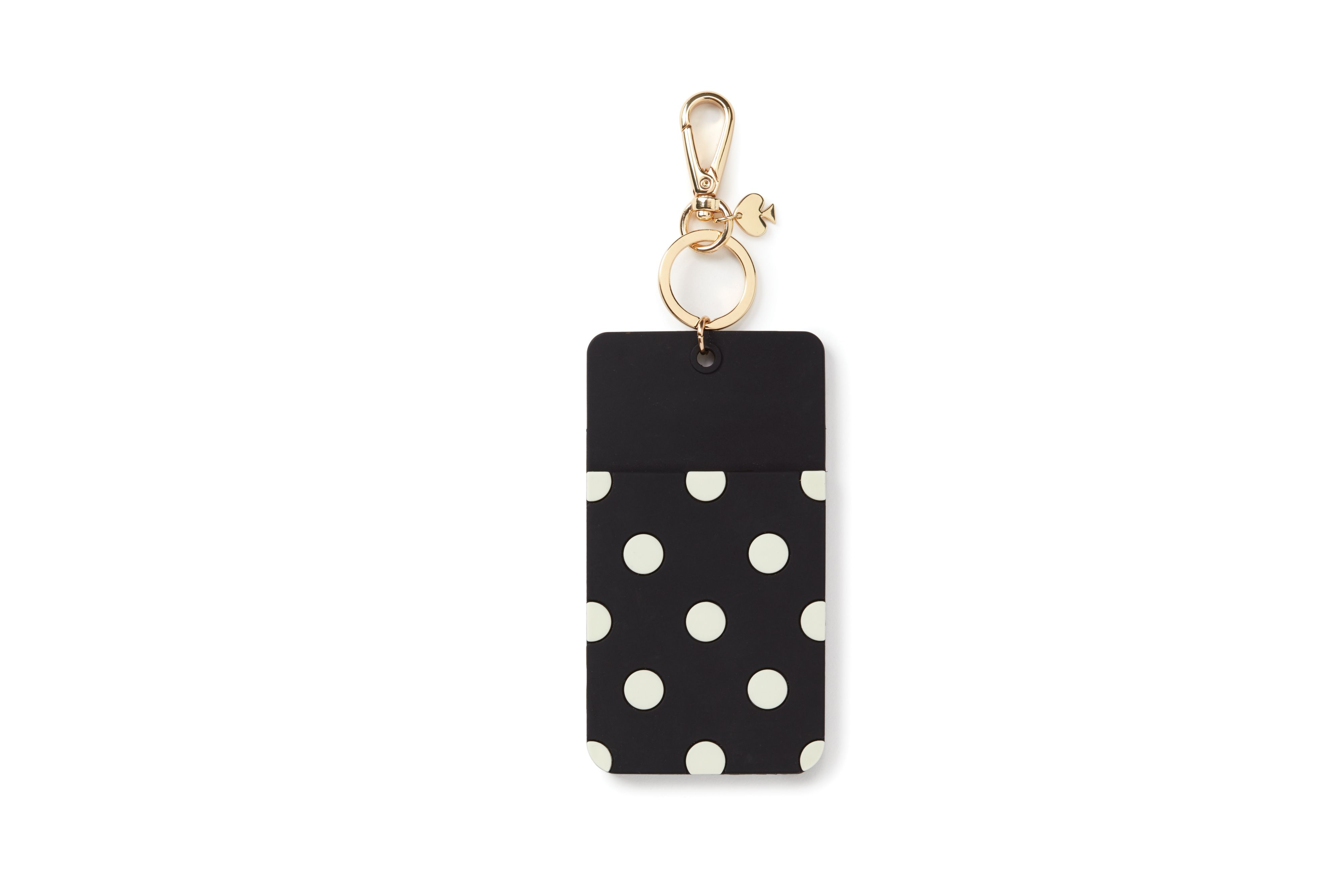 Kate Spade New York Why Hello There Black polka dot ID keyring Black