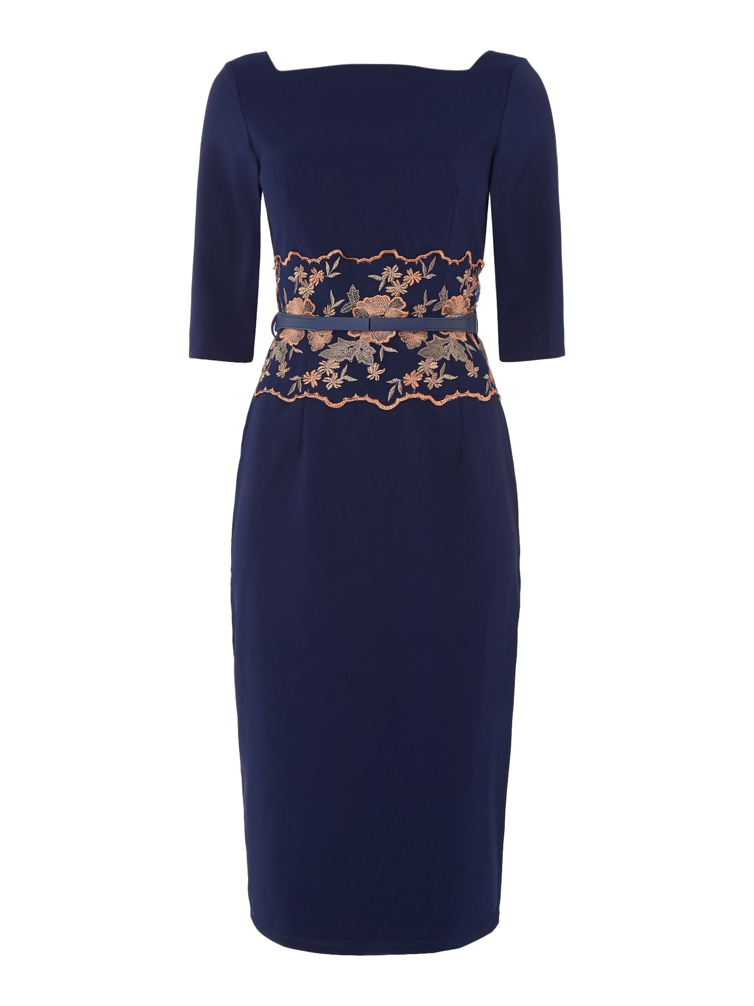 Little Mistress 3/4 sleeve embroided waist bodycon dress, Blue