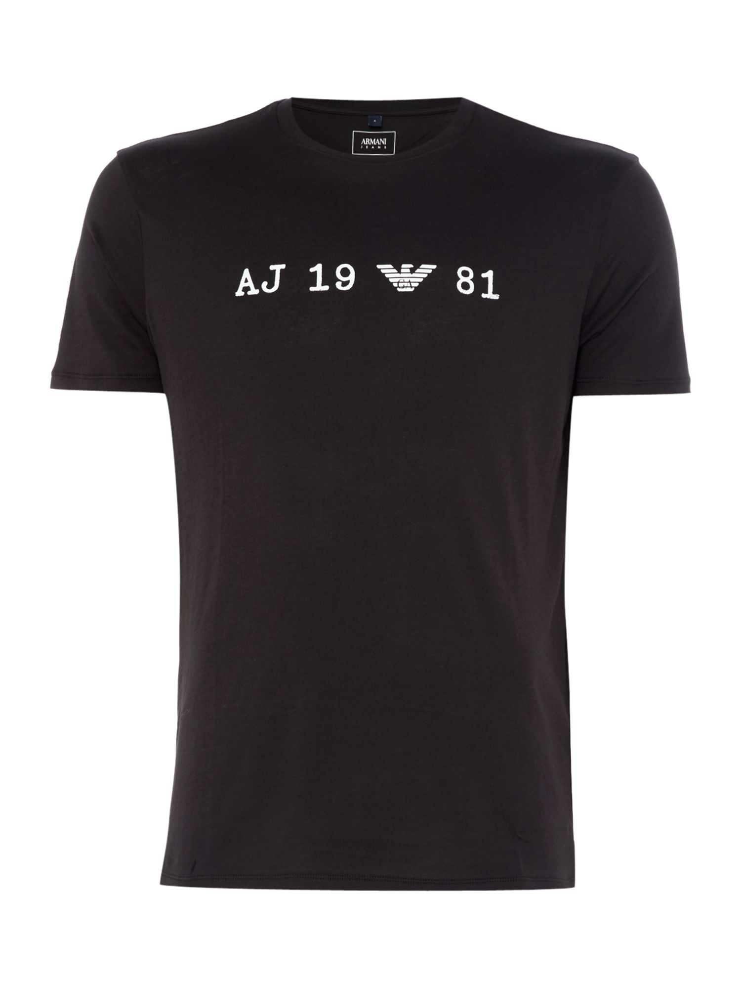 Mens Armani Jeans Regular fit text logo tshirt Black