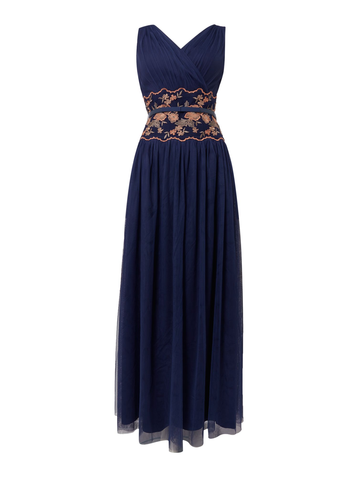 Little Mistress sleeveless embroided waist maxi, Blue