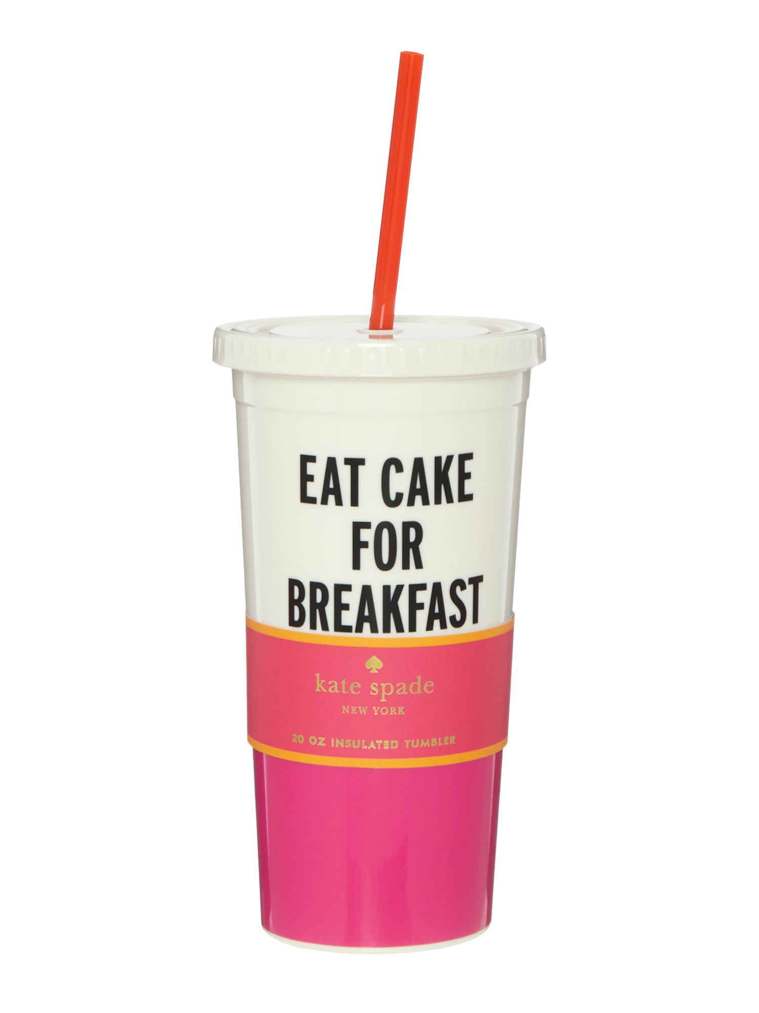 Image of Kate Spade New York Eat cake for breakfast tumbler with straw
