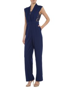 Little Mistress Cap sleeve cutout back jumpsuit