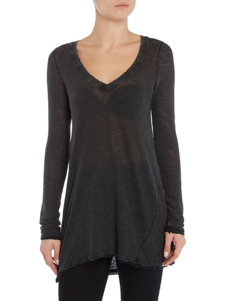 Free People Anna Tee in Black