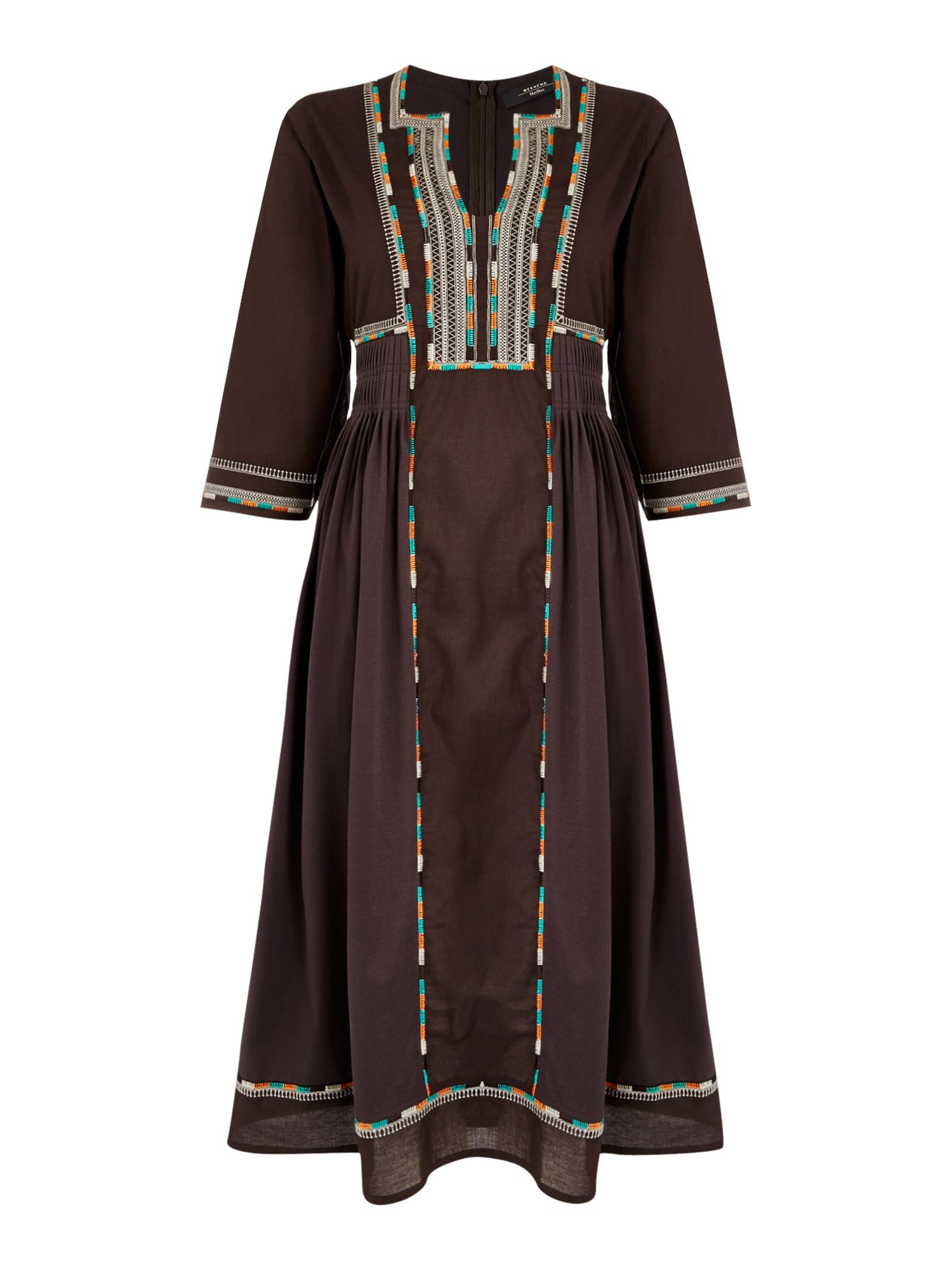 Max Mara Weekend ARLEM 3/4 sleeve embroidered midi dress, Dark Brown