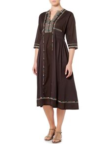 Max Mara ARLEM 3/4 sleeve embroidered midi dress