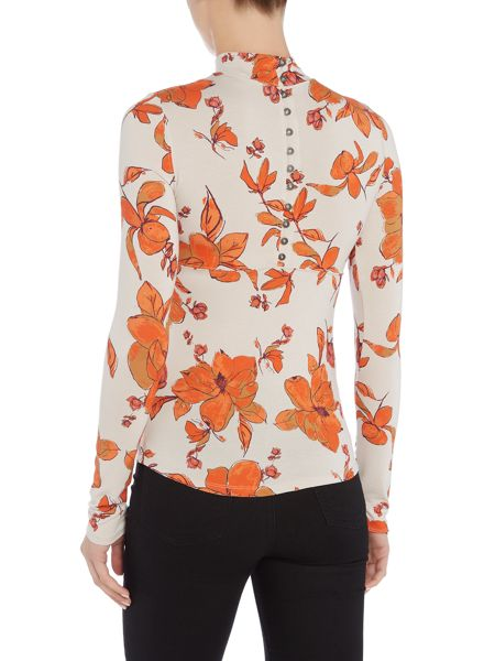 Free People Chocolate top in stone floral