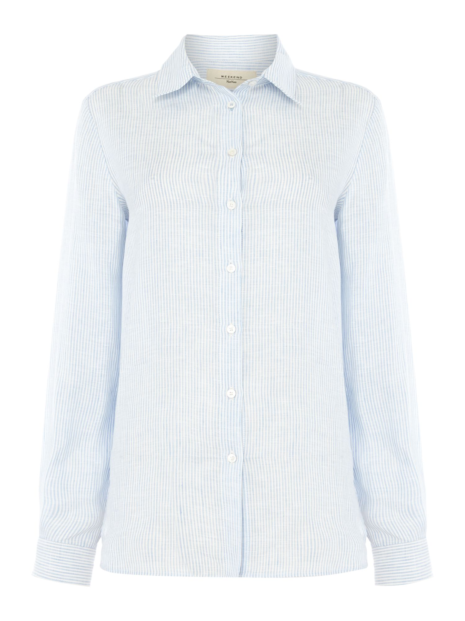Max Mara Weekend TISBE longlseeve linen pinstripe shirt, Light Blue