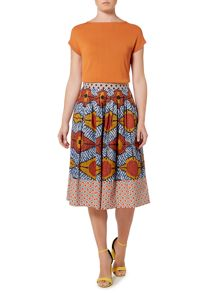 Max Mara CELLUA african printed pleated skirt