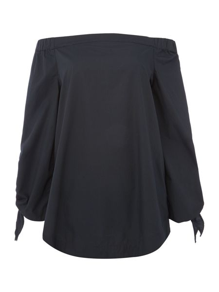 Free People Show some shoulder poplin tunic in black