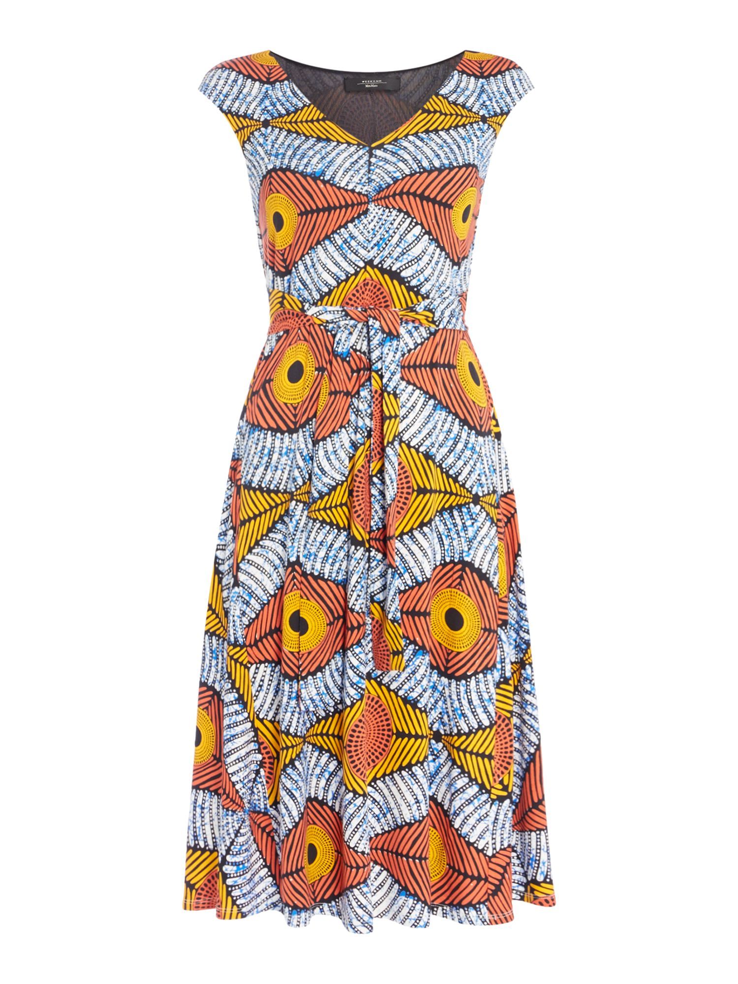 Max Mara Weekend BU Sleeveless v neck jersey printed dress, Orange