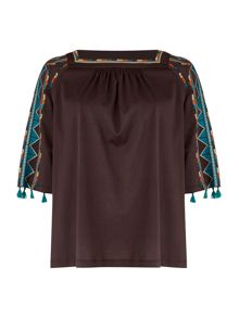 Max Mara ZAMBIA 3/4 sleeve embroidered top with tassel