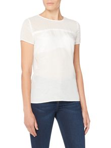 Armani Jeans Contrast see through top in bianco latte