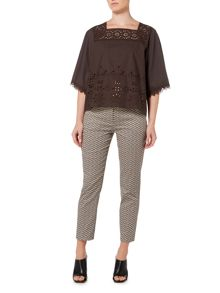Max Mara CATONE short sleeve broderie cotton mix top