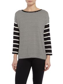 Armani Jeans Long sleeve striped dip hem top