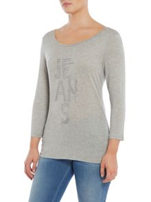 Armani Jeans Long sleeve sequined logo top