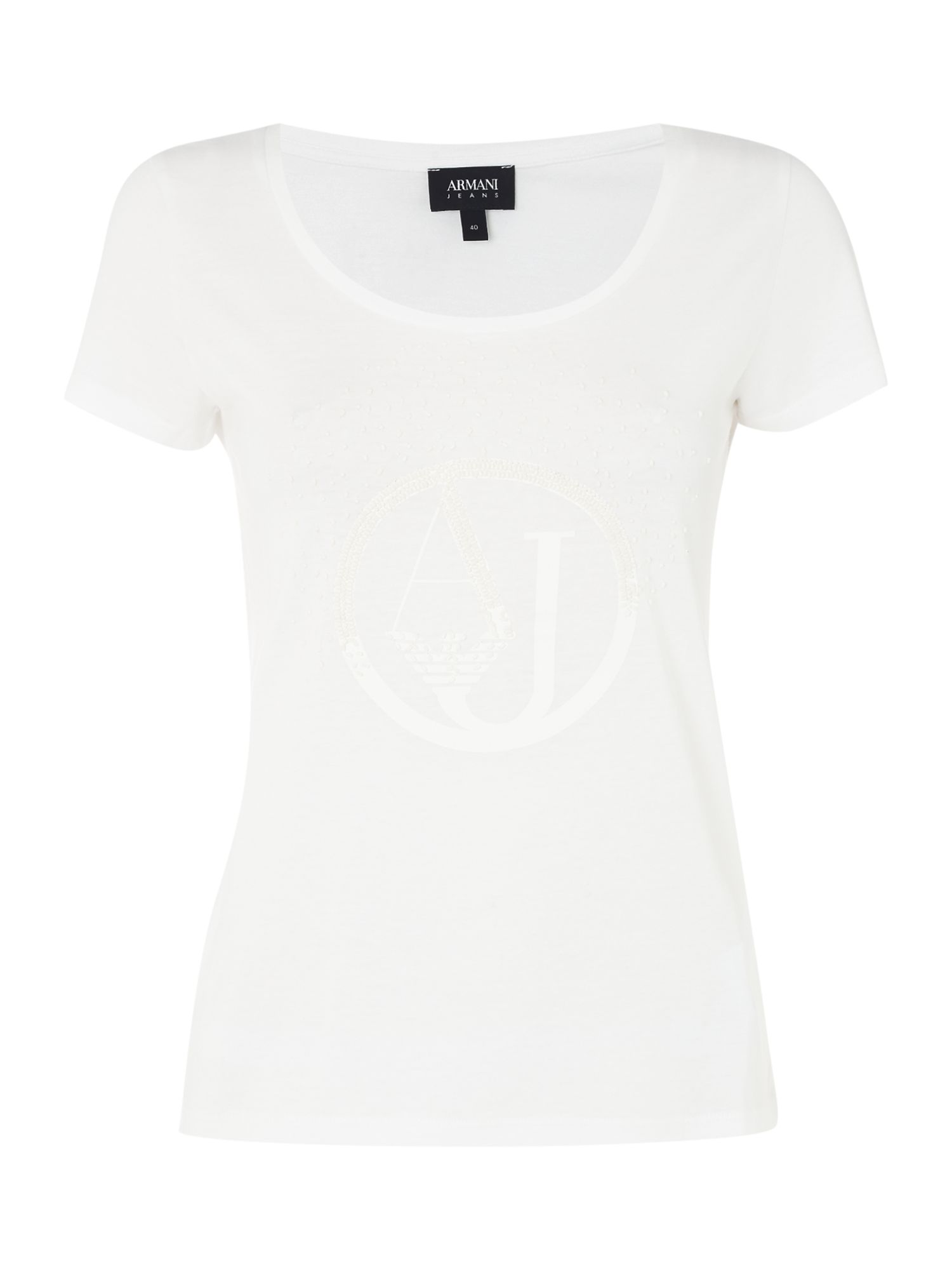 Armani Jeans Short sleeve shiny AJ tee in white, White